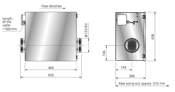 Dimensies van de IRB 125 kanaalventilator van Östberg