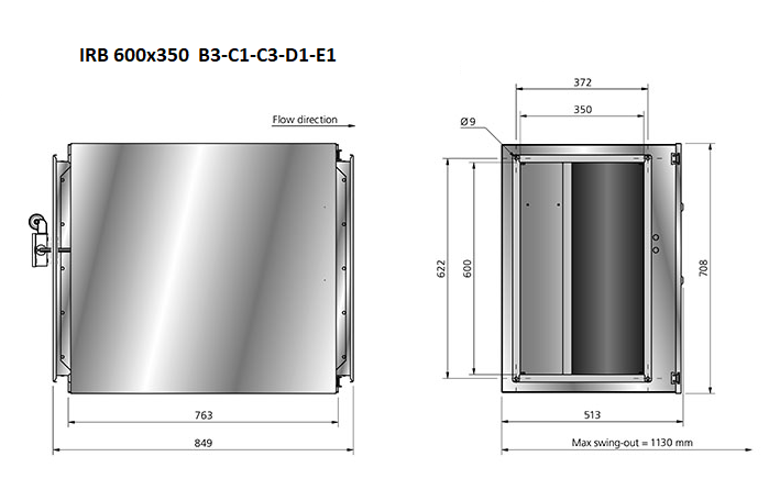 IRB600x350 boxventilator-maatvoering Ostberg