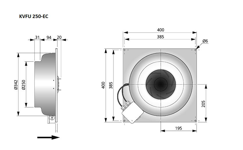 KVFU250-EC-maatvoering-wandventilator