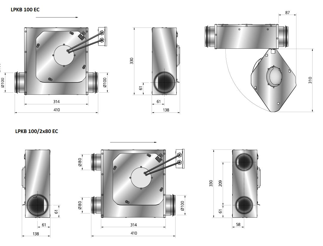 LPKB100EC-kanaalventilator-gelijkstroom