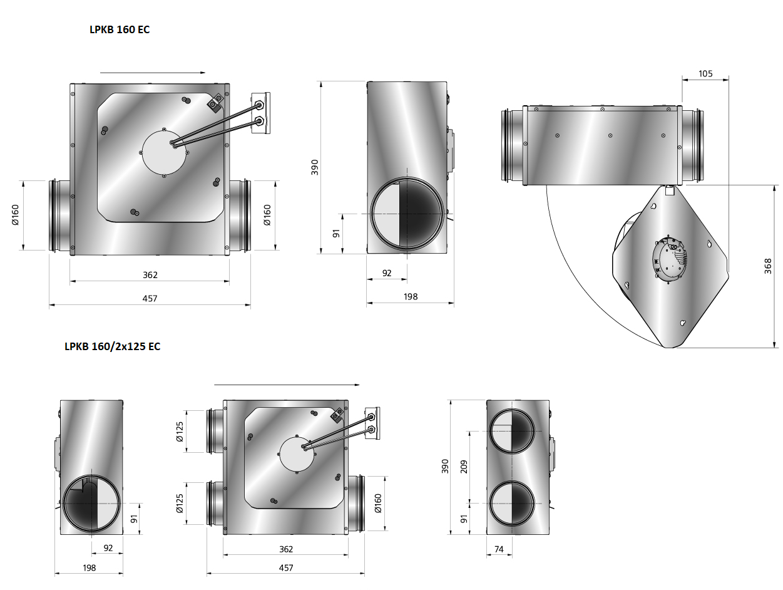 LPKB160EC-kanaalventilator-gelijkstroom